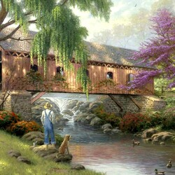 Пазл онлайн: Рыбалка у моста