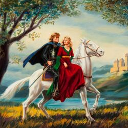 Пазл онлайн:  Влюбленные на белом коне