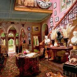 Пазл онлайн: Холл и лестница в загородном доме