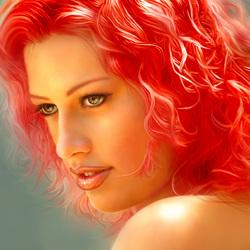 Пазл онлайн: Волосы цвета огня