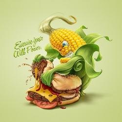 Пазл онлайн: Кукуруза против гамбургера