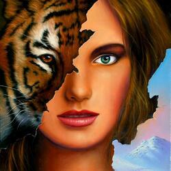 Пазл онлайн: Девушка-тигр