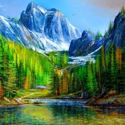 Пазл онлайн: Голубые вершины гор