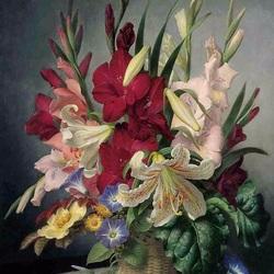 Пазл онлайн: Летний букет с лилиями и гладиолусами
