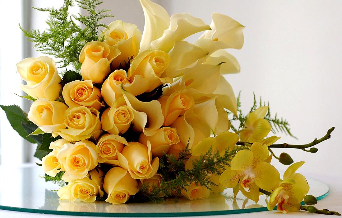 Открытка букет цветов для поздравления
