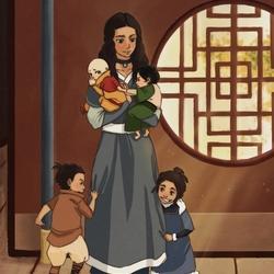 Пазл онлайн: Катара с детьми