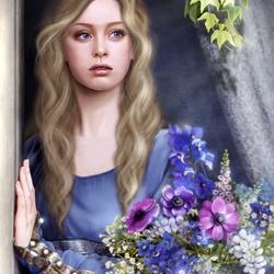 Пазл онлайн: Девушка в окне