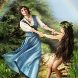 Пазл онлайн: Барболка и девочка-астэра у Белой Ели