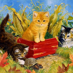 Пазл онлайн: Озорные котятки