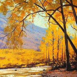 Пазл онлайн: Картина золотой осины