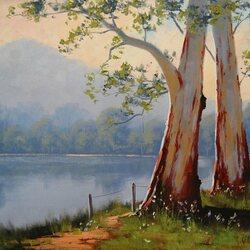 Пазл онлайн: Деревья озера Блу Гам