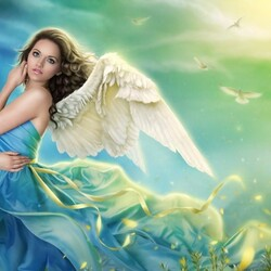Пазл онлайн: Ангел в голубом