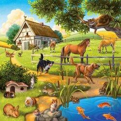 Пазл онлайн: Животные на ферме