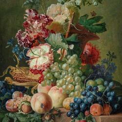 Пазл онлайн: Натюрморт из цветов и фруктов на каменном выступе