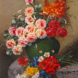 Пазл онлайн: Цветы в зеленой вазе