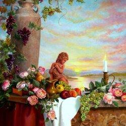 Пазл онлайн: Натюрморт на фоне заката