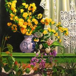 Пазл онлайн: Цветы на окне