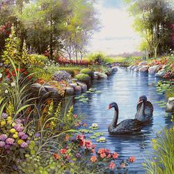 Пазл онлайн: Черные лебеди