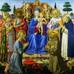 Пазл онлайн: Дева и младенец среди ангелов и святых