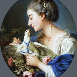 Пазл онлайн: Девушка, прикрепляющая письмо на шею голубю