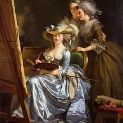 Пазл онлайн: Автопортрет с двумя женщинами