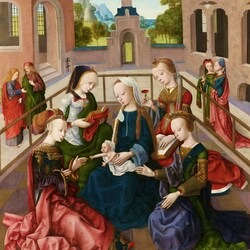 Пазл онлайн: Maria met kind met de heiligen Catharina, Cecilia, Barbara en Ursula