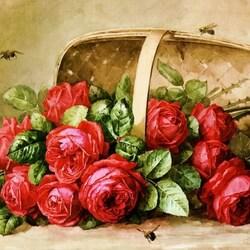 Пазл онлайн: Розы в корзинке