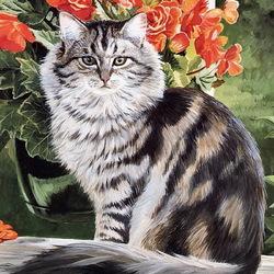 Пазл онлайн: Задумчивый котик