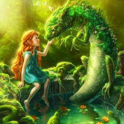 Пазл онлайн: Зеленый дракоша