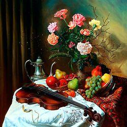 Пазл онлайн: Натюрморт со скрипкой и цветами