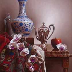 Пазл онлайн: Натюрморт с орхидеями