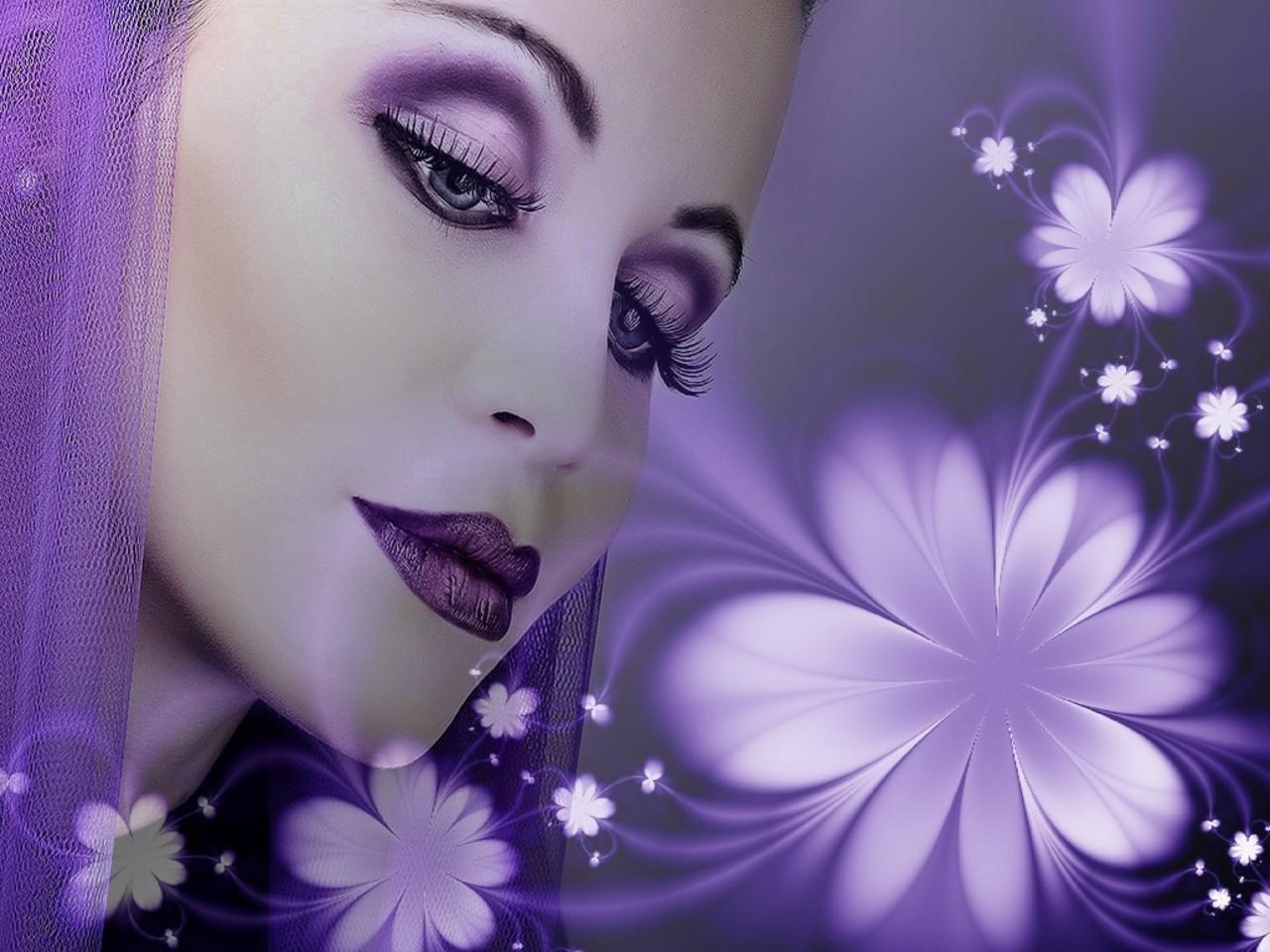 Открытка женщина в сиреневом цвете