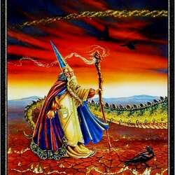 Пазл онлайн: Волшебник, идущий за драконом