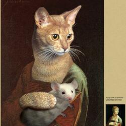 Пазл онлайн: Дама с мышью
