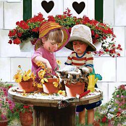 Пазл онлайн: Маленькие садовники