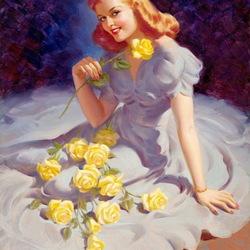 Пазл онлайн: Жёлтые розы