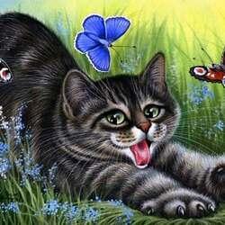 Пазл онлайн: Охотник за бабочками