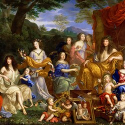 Пазл онлайн: Аллегорический портрет семьи Людовика XIV