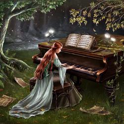 Пазл онлайн: Forest piano / Лесное фортепиано