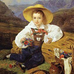 Пазл онлайн: Мальчик с букетиком