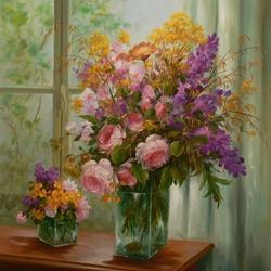 Пазл онлайн: Розы с полевыми цветами