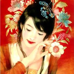 Пазл онлайн: Девушка в цветах
