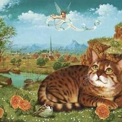 Пазл онлайн: Кот на фоне пейзажа