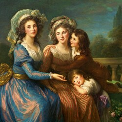 Пазл онлайн: Маркиза де Пезай и маркиза де Руж с сыновьями Алексеем и Адриен
