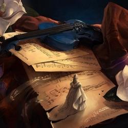 Пазл онлайн: Натюрморт с синей скрипкой