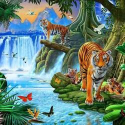 Пазл онлайн: Тигры у водопада