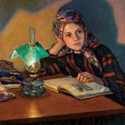 Пазл онлайн: Девочка за чтением