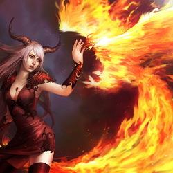 Пазл онлайн: Демонесса и феникс