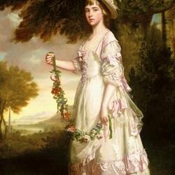 Пазл онлайн: Девушка с цветочной гирляндой