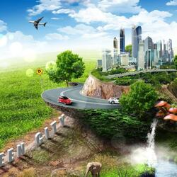 Пазл онлайн: Зелёный город